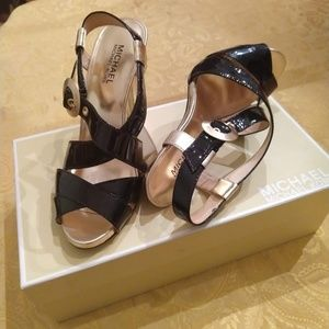 Michael Kors Black and Gold Patent Leather Heels